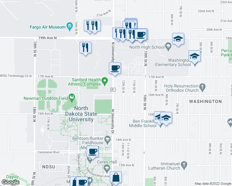 map of restaurants, bars, coffee shops, grocery stores, and more near 1601 North University Drive in Fargo