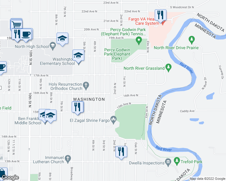 map of restaurants, bars, coffee shops, grocery stores, and more near 1614 2nd Street North in Fargo