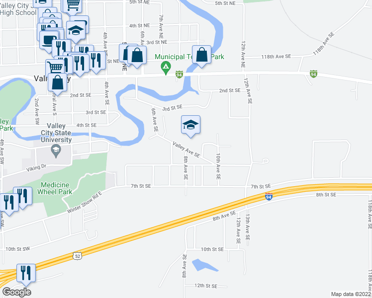 map of restaurants, bars, coffee shops, grocery stores, and more near 550 8th Avenue Southeast in Valley City