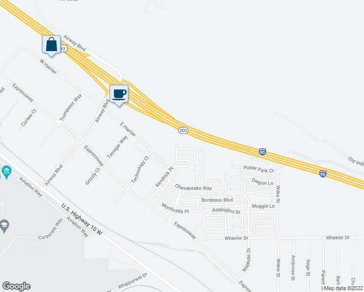 map of restaurants, bars, coffee shops, grocery stores, and more near 101 Calistoga Lane in Missoula