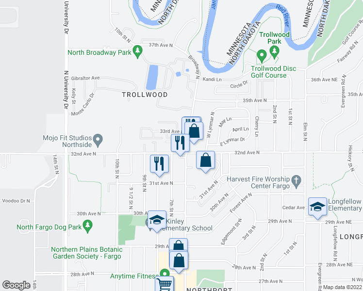 map of restaurants, bars, coffee shops, grocery stores, and more near 3202 Broadway North in Fargo