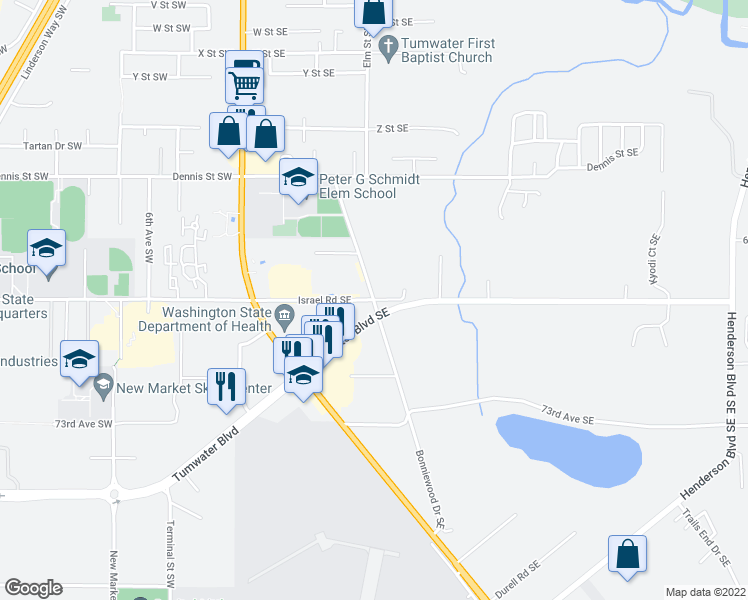map of restaurants, bars, coffee shops, grocery stores, and more near Bonniewood Drive Southeast & Israel Road Southeast in Tumwater