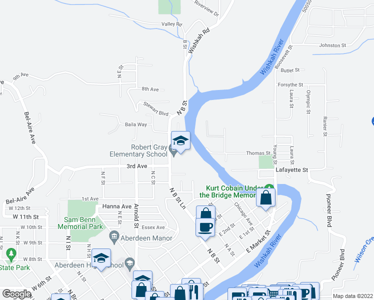 map of restaurants, bars, coffee shops, grocery stores, and more near 907 K Street in Hoquiam