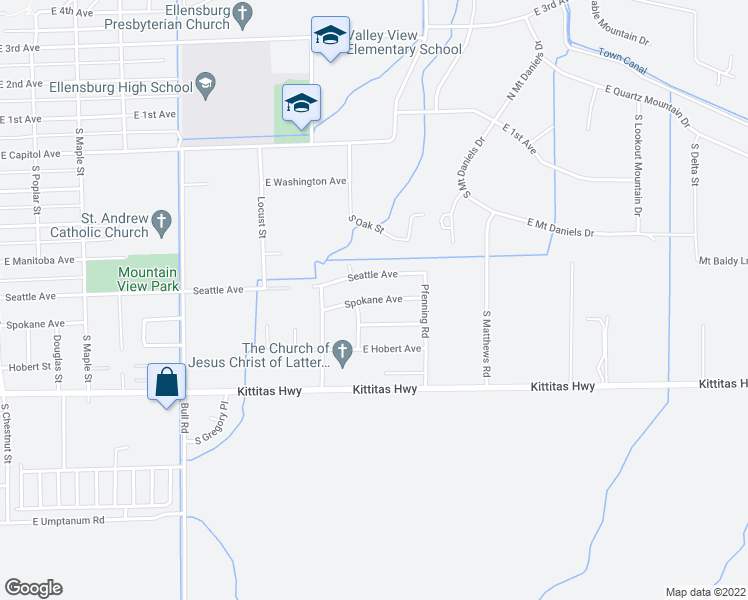 map of restaurants, bars, coffee shops, grocery stores, and more near 1608 Spokane Avenue in Ellensburg