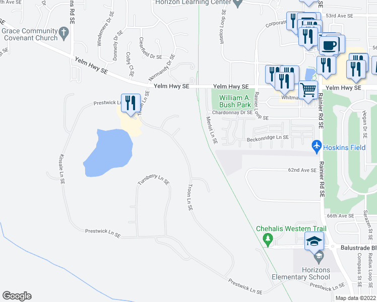 map of restaurants, bars, coffee shops, grocery stores, and more near 6042 Troon Lane Southeast in Olympia