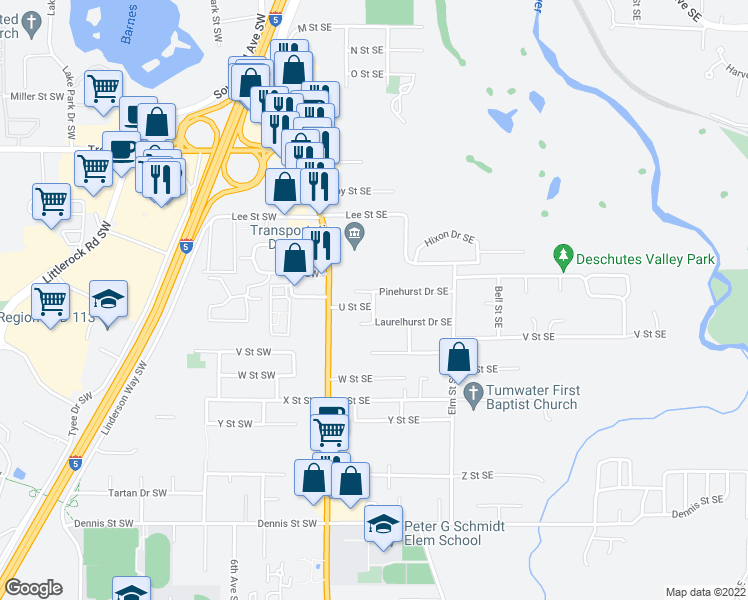 map of restaurants, bars, coffee shops, grocery stores, and more near 218 Laurelhurst Drive Southeast in Tumwater