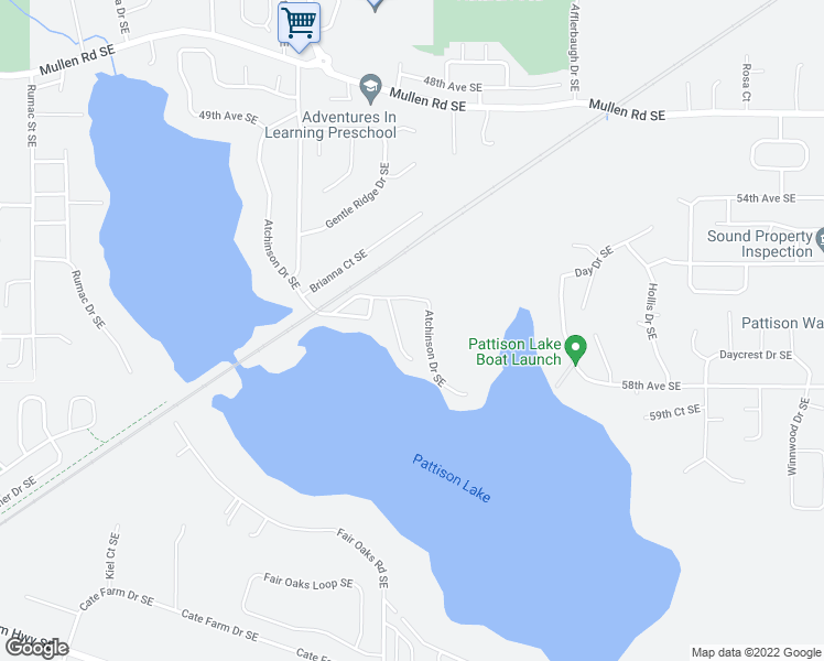 map of restaurants, bars, coffee shops, grocery stores, and more near 7641 Atchinson Drive Southeast in Olympia