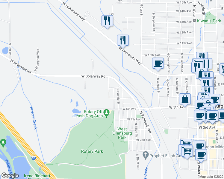 map of restaurants, bars, coffee shops, grocery stores, and more near 1110 West 7th Avenue in Ellensburg