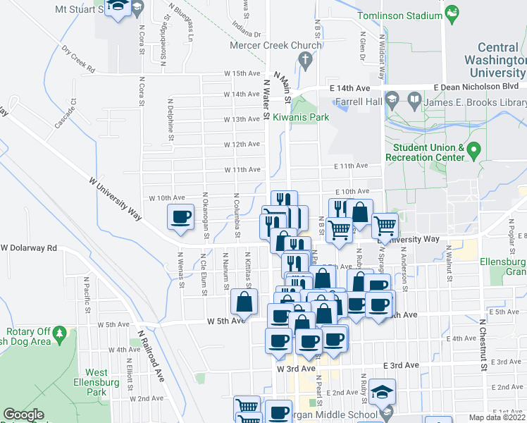 map of restaurants, bars, coffee shops, grocery stores, and more near 903 North Water Street in Ellensburg