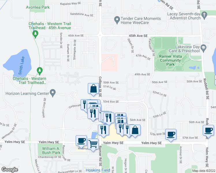 map of restaurants, bars, coffee shops, grocery stores, and more near 4900 50th Avenue Southeast in Lacey