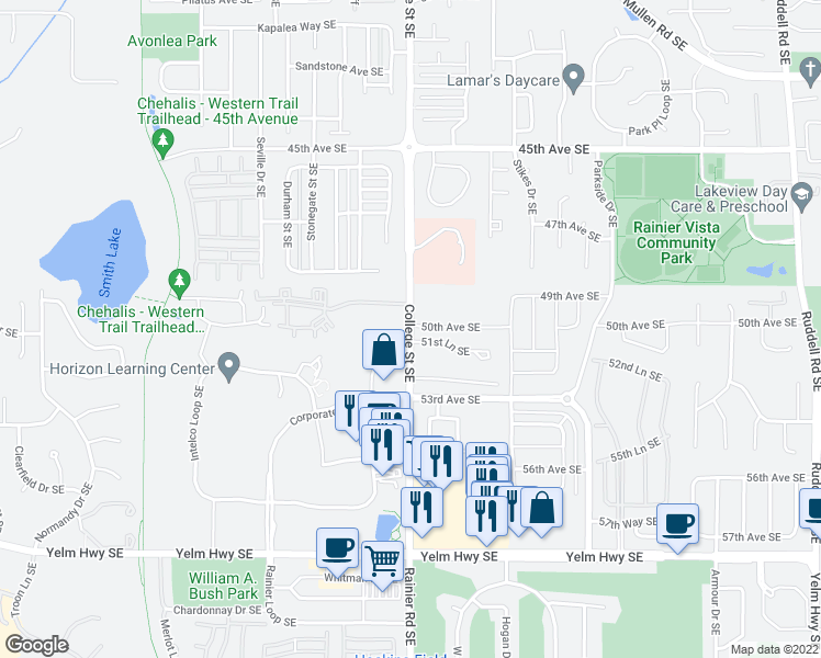 map of restaurants, bars, coffee shops, grocery stores, and more near 4848-4892 College Street Southeast in Lacey