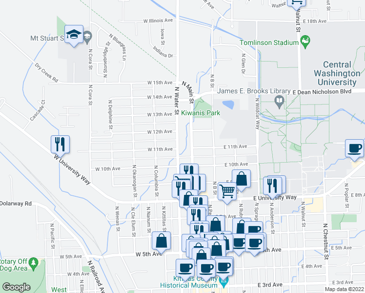 map of restaurants, bars, coffee shops, grocery stores, and more near 1102 N Water St in Ellensburg