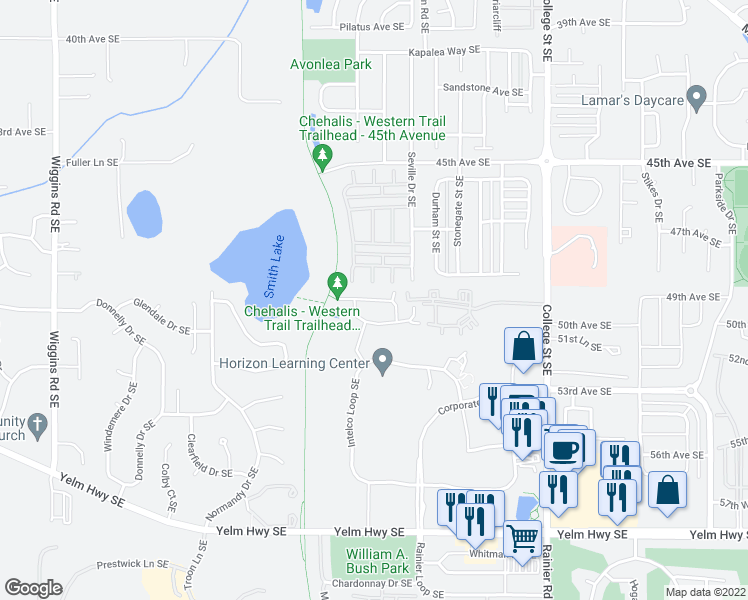 map of restaurants, bars, coffee shops, grocery stores, and more near Roxanna Loop Southeast in Lacey