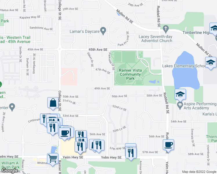 map of restaurants, bars, coffee shops, grocery stores, and more near 5340 49th Avenue Southeast in Lacey