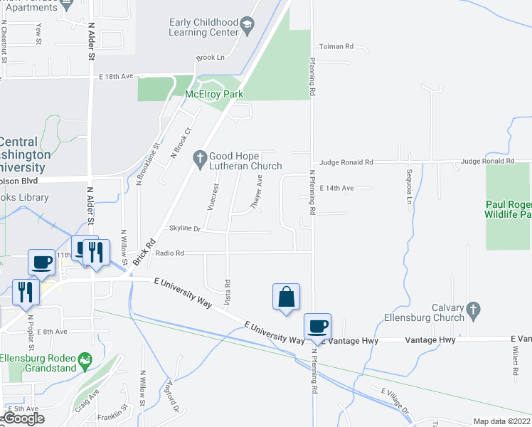 map of restaurants, bars, coffee shops, grocery stores, and more near 1216 Thayer Avenue in Ellensburg