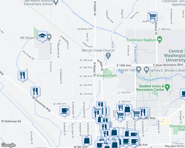 map of restaurants, bars, coffee shops, grocery stores, and more near 1301 North Water Street in Ellensburg