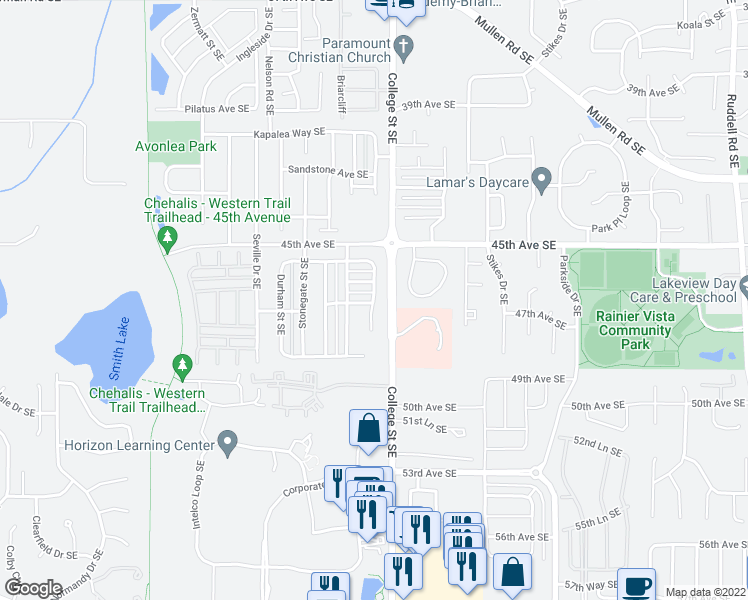 map of restaurants, bars, coffee shops, grocery stores, and more near Colleen Court Southeast in Lacey