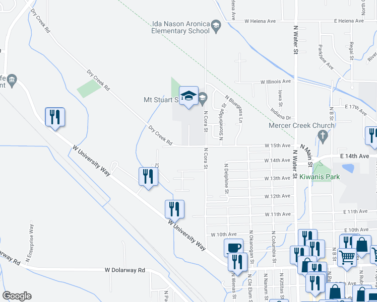 map of restaurants, bars, coffee shops, grocery stores, and more near 712 West 15th Avenue in Ellensburg