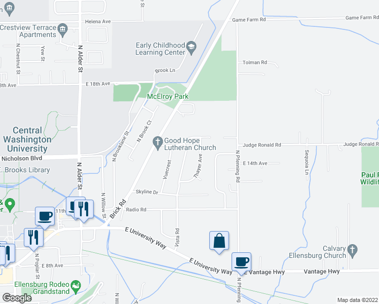 map of restaurants, bars, coffee shops, grocery stores, and more near 1400 Vista Road in Ellensburg