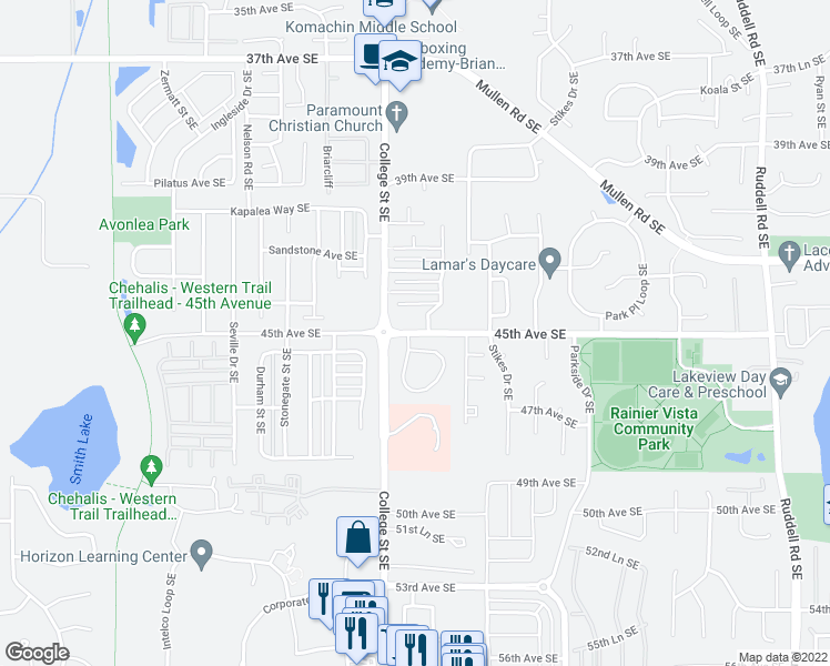 map of restaurants, bars, coffee shops, grocery stores, and more near 4645-4699 45th Avenue Southeast in Lacey