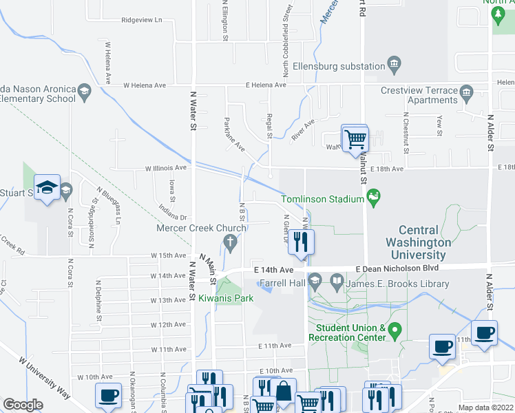 map of restaurants, bars, coffee shops, grocery stores, and more near 104 East 17th Avenue in Ellensburg