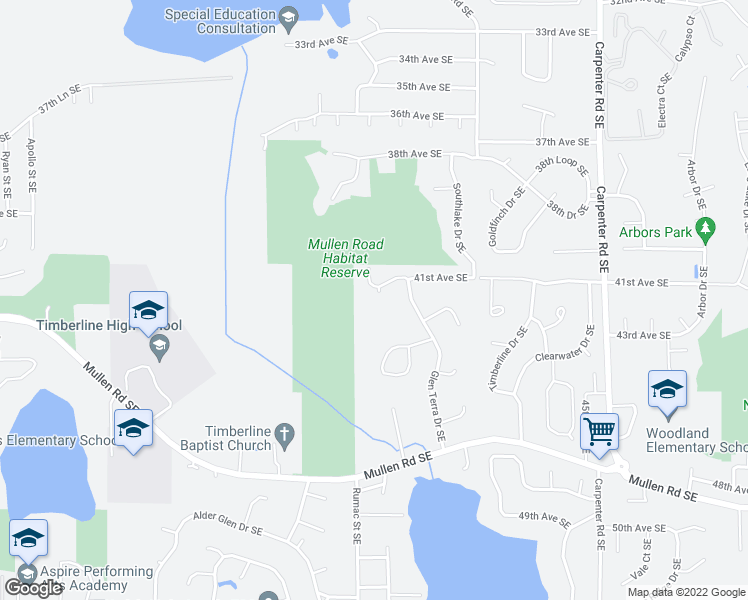 map of restaurants, bars, coffee shops, grocery stores, and more near 6849 41st Avenue Southeast in Lacey