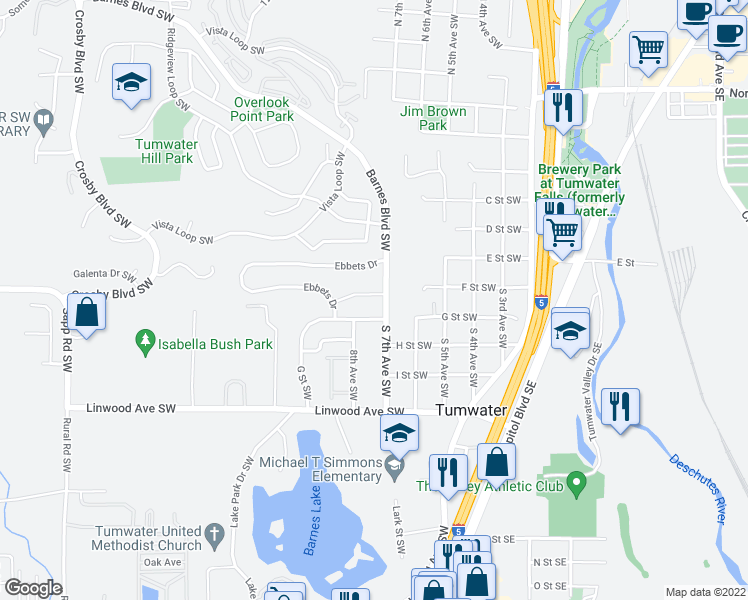 map of restaurants, bars, coffee shops, grocery stores, and more near 731 Fenway Lane in Tumwater