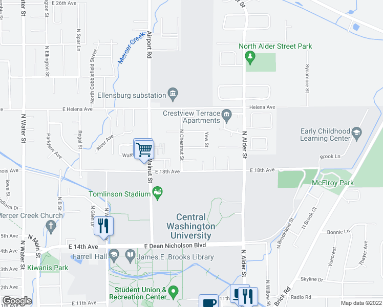 map of restaurants, bars, coffee shops, grocery stores, and more near 806 Juniper Avenue in Ellensburg