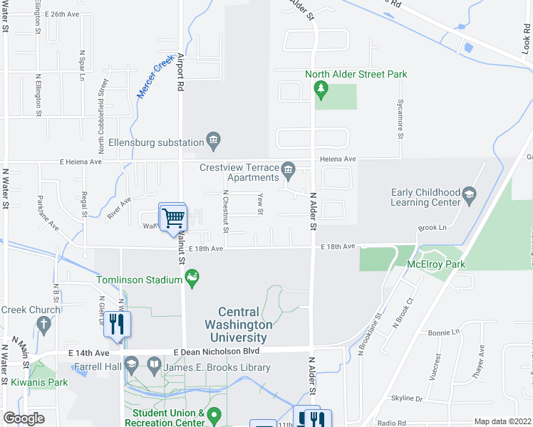 map of restaurants, bars, coffee shops, grocery stores, and more near 1902 Yew Street in Ellensburg