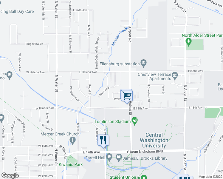map of restaurants, bars, coffee shops, grocery stores, and more near 400 River Avenue in Ellensburg