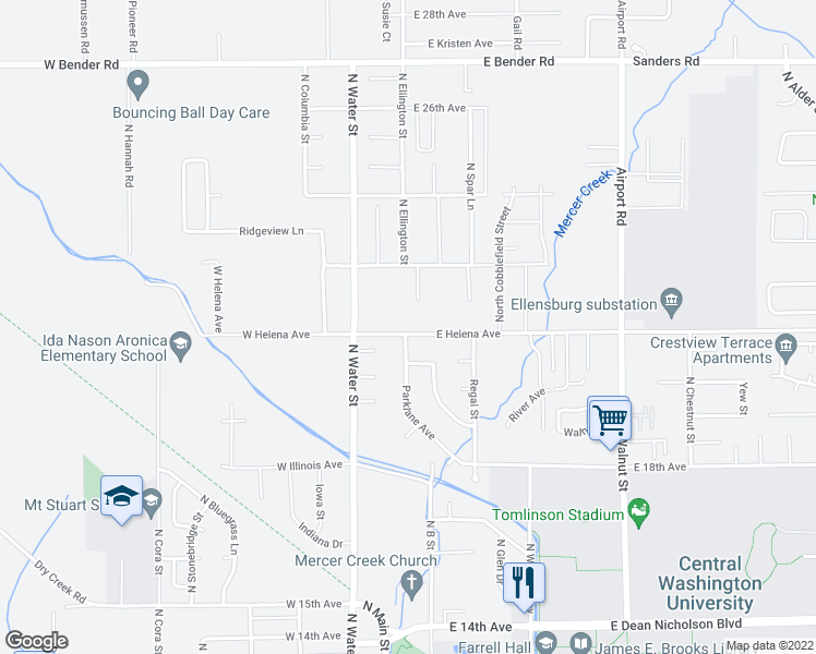 map of restaurants, bars, coffee shops, grocery stores, and more near 103 West Helena Avenue in Ellensburg