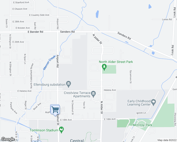 map of restaurants, bars, coffee shops, grocery stores, and more near 2416 Wheaton Court in Ellensburg