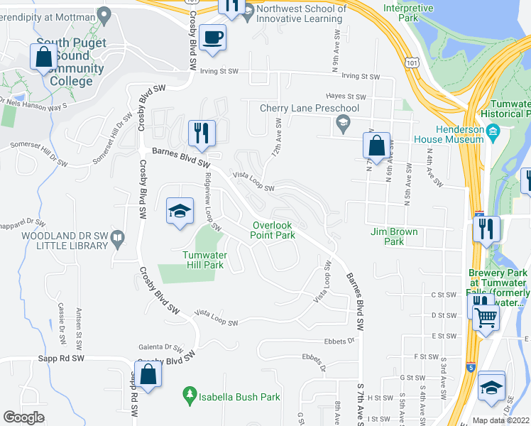 map of restaurants, bars, coffee shops, grocery stores, and more near 1704 Barnes Boulevard Southwest in Tumwater