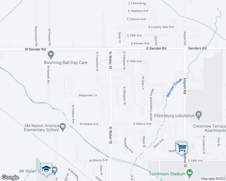 map of restaurants, bars, coffee shops, grocery stores, and more near 2402 North Water Street in Ellensburg