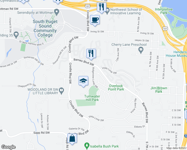 map of restaurants, bars, coffee shops, grocery stores, and more near 1964 Ridgeview Loop Southwest in Tumwater