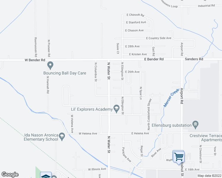 map of restaurants, bars, coffee shops, grocery stores, and more near 112 Joanna Place in Ellensburg