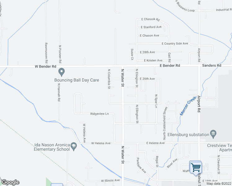 map of restaurants, bars, coffee shops, grocery stores, and more near 205 Maci Court in Ellensburg