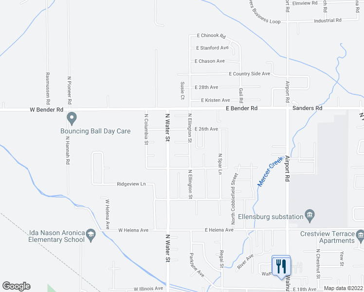 map of restaurants, bars, coffee shops, grocery stores, and more near 104 W Courtney Ct in Ellensburg