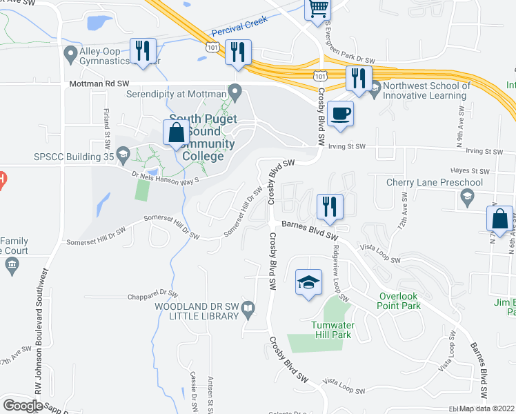map of restaurants, bars, coffee shops, grocery stores, and more near 2997 Crosby Blvd SW in Olympia