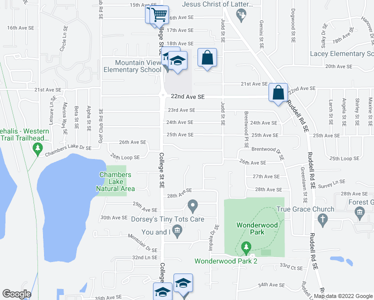 map of restaurants, bars, coffee shops, grocery stores, and more near 4710 26th Avenue Southeast in Lacey