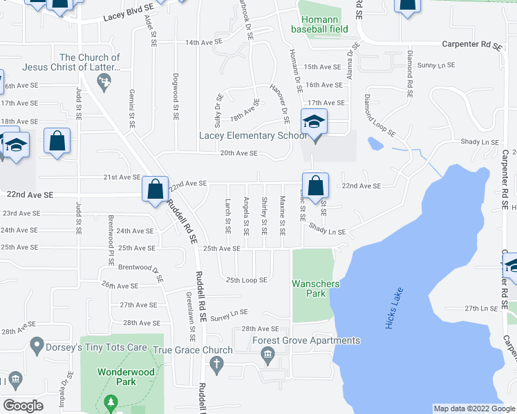map of restaurants, bars, coffee shops, grocery stores, and more near 2221 Shirley Street Southeast in Lacey