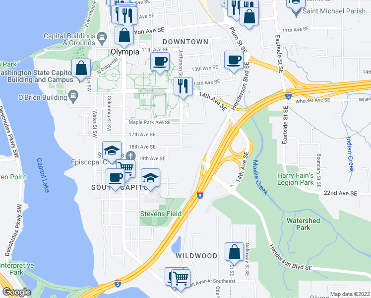 map of restaurants, bars, coffee shops, grocery stores, and more near 515 18th Avenue Southeast in Olympia