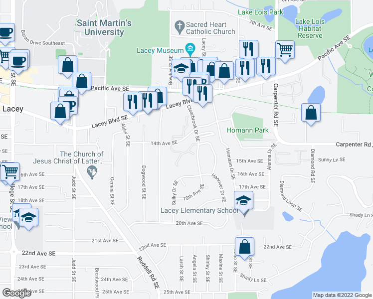 map of restaurants, bars, coffee shops, grocery stores, and more near 1405 Clearbrook Drive Southeast in Lacey