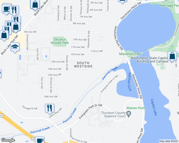 map of restaurants, bars, coffee shops, grocery stores, and more near 1319 14th Avenue Southwest in Olympia
