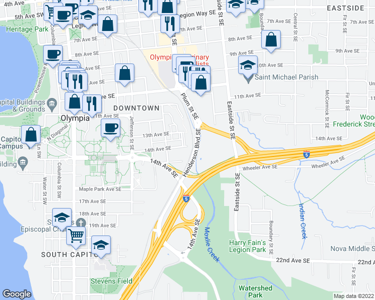 map of restaurants, bars, coffee shops, grocery stores, and more near Henderson Boulevard Southeast in Olympia
