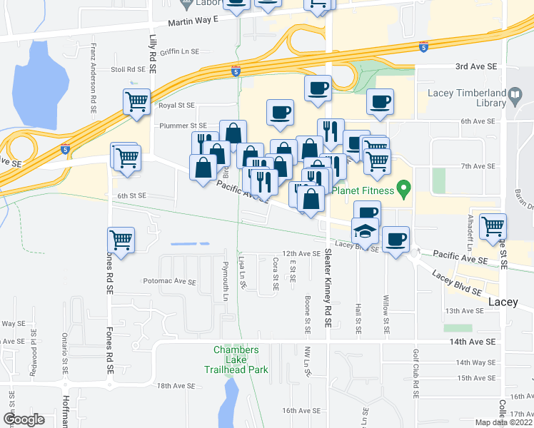 map of restaurants, bars, coffee shops, grocery stores, and more near 3813 Pacific Avenue Southeast in Olympia