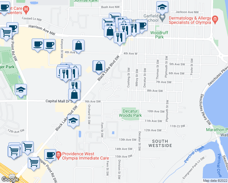 map of restaurants, bars, coffee shops, grocery stores, and more near Soroya Dr SW in Olympia
