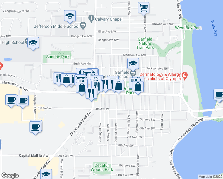 map of restaurants, bars, coffee shops, grocery stores, and more near 1722 Harrison Avenue Northwest in Olympia