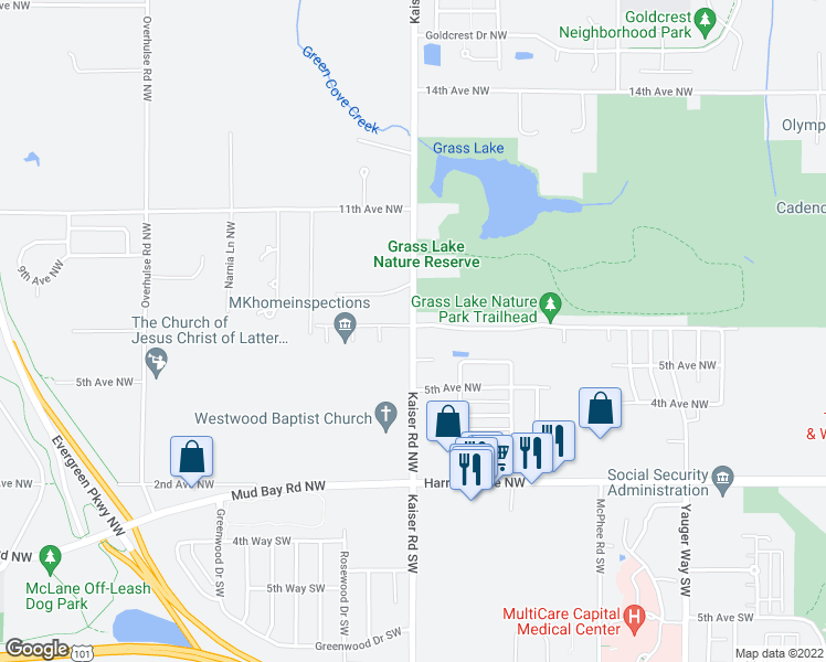 map of restaurants, bars, coffee shops, grocery stores, and more near 707 Kaiser Road Northwest in Olympia