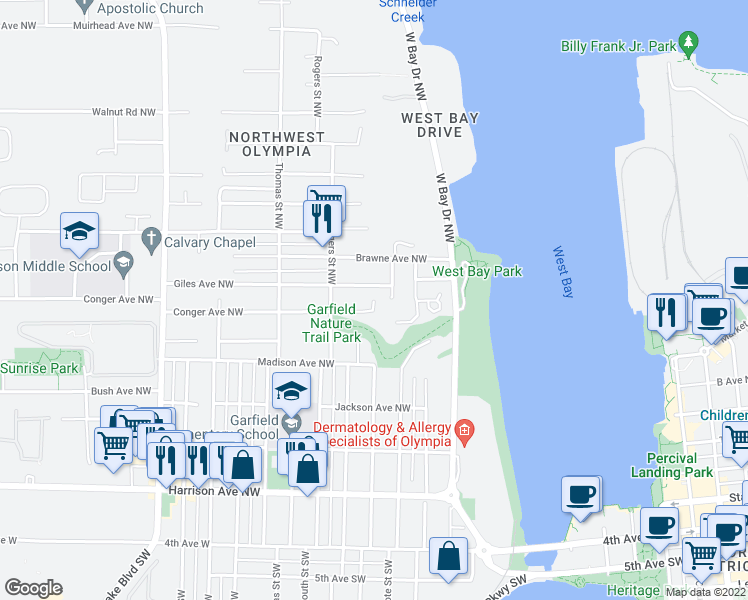 map of restaurants, bars, coffee shops, grocery stores, and more near 704 Percival Street Northwest in Olympia